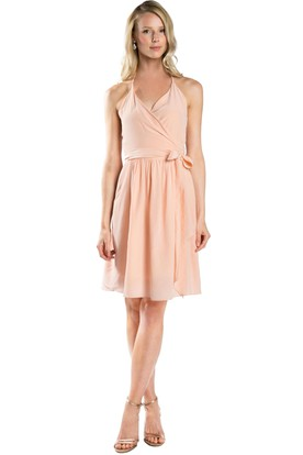Short Bowed Sleeveless Spaghetti Chiffon Muti-Color Convertible Bridesmaid Dress