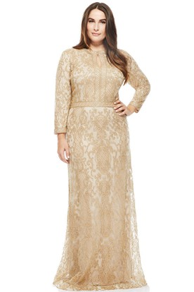 Long Sleeve High Neck Lace Evening Dress With Brush Train