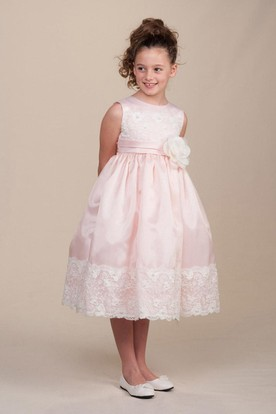 Tea-Length Floral Pleated Lace&Satin Flower Girl Dress With Sash