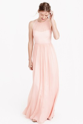 Pleated High Neck Sleeveless Chiffon Bridesmaid Dress