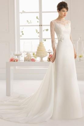 Sheath Long-Sleeve Bateau-Neck Chiffon Wedding Dress With Flower And Bow