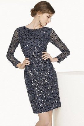 Low V Back Long Sleeve Sheath Short Prom Dress With Allover Sequins