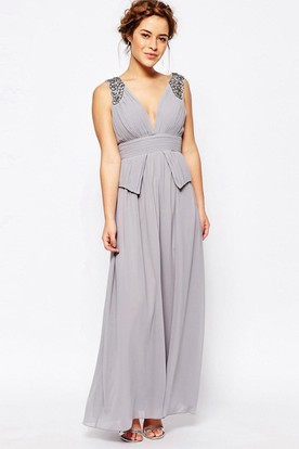 A-Line Ruched Ankle-Length V-Neck Sleeveless Chiffon Bridesmaid Dress With Beading