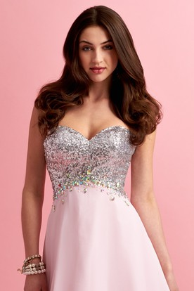 A-Line Long Sweetheart Sleeveless Jersey Dress With Sequins And Beading