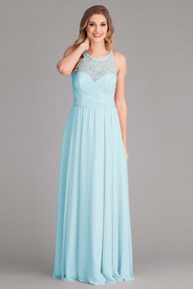 Lace Scoop Neck Sleeveless Chiffon Bridesmaid Dress