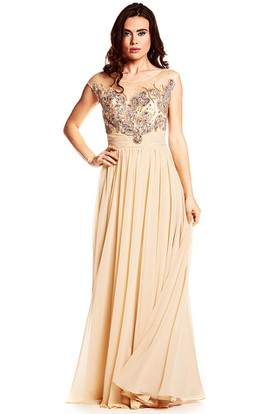 Scoop Neck Beaded Cap Sleeve Chiffon Prom Dress With Low-V Back