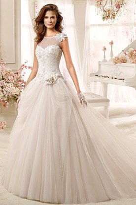 Jewel-neck Low-back A-line Wedding Dress with Flowers and Beaded Bodice