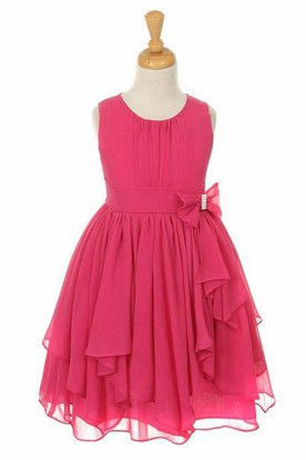 Tea-Length Broach Bowed Chiffon Flower Girl Dress