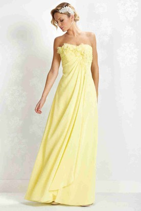 Long Sweetheart Empire Draped Ruched Chiffon Bridesmaid Dress