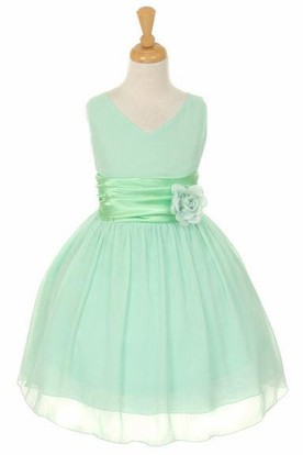 V-Neck Knee-Length Tiered Chiffon&Satin Flower Girl Dress