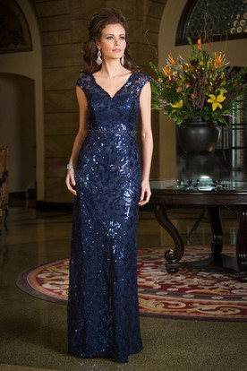 Cap-Sleeved V-Neck Long Sheath Mother Of The Bride Dress With Allover Sequins