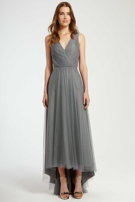 High-Low Ruched Strapless Tulle Bridesmaid Dress With Brush Train