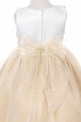 Floral Tiered Satin Flower Girl Dress With Embroidery