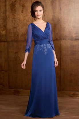Sheath 3-4-Sleeve Floor-Length V-Neck Ruched Jersey Mother Of The Bride Dress With Beading