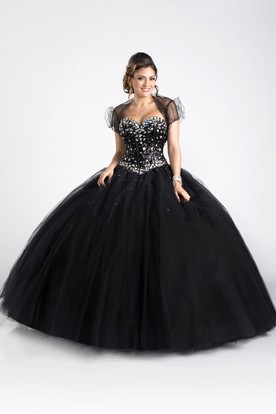A-Line Sleeveless Tulle Ball Gown With Crystal Bodice And Removable Cap