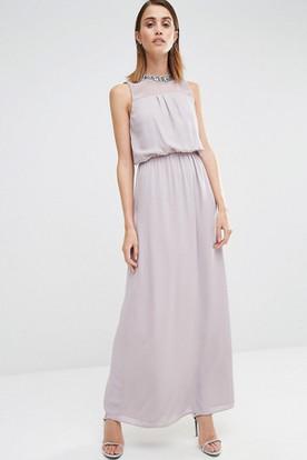 Ankle-Length Sheath Sleeveless Jewel Neck Chiffon Bridesmaid Dress