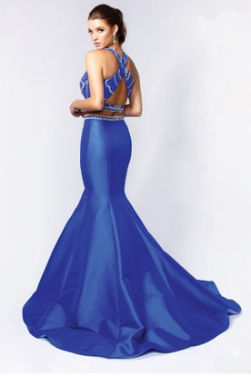 Two-Piece Mermaid Long Jewel-Neck Sleeveless Satin Court Train Dress With Beading