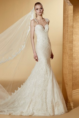 Sexy Sweetheart Mermaid Lace Long Wedding Dress With Illusive Straps And Court Train