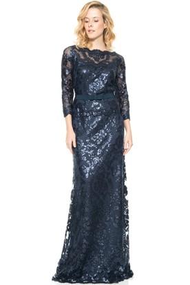 Sheath Jewel-Neck 3-4-Sleeve Maxi Sequins Evening Dress