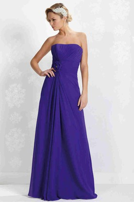 Maxi Ruched Strapless Chiffon Bridesmaid Dress With Flower And Lace-Up