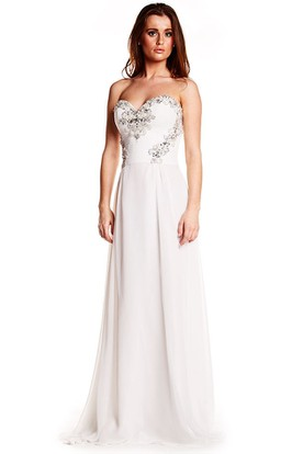 Sleeveless Sweetheart Ruched Chiffon Prom Dress With Beading And Bow