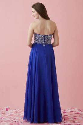 A-Line Long Sweetheart Sleeveless Jersey Backless Dress With Split Front And Beading