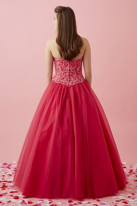 Ball Gown Sweetheart Sleeveless Tulle Satin Dress With Beading