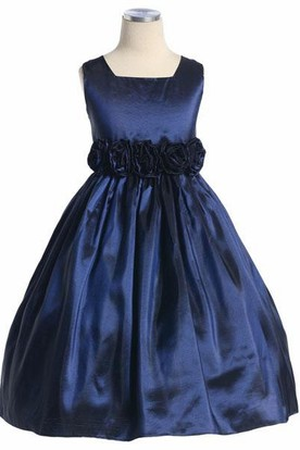Tea-Length Tiered Taffeta Flower Girl Dress