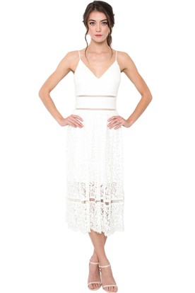 Pencil Tea-Length Spaghetti Sleeveless Lace Little White Dress With Deep-V Back