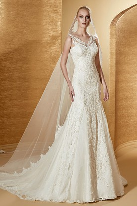 Exquisite V-Neck Mermaid Bridal Gown With Illusive Lace Straps And Court Train