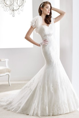 Sweetheart Mermaid Sheath Lace Gown With Illusive Lace Straps And Back