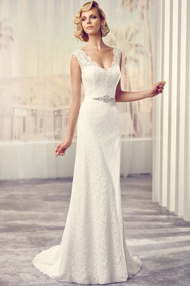 Long V-Neck Jeweled Lace Wedding Dress With Sweep Train And Illusion