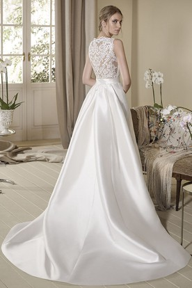 A-Line Appliqued Floor-Length Sleeveless Jewel-Neck Satin Wedding Dress