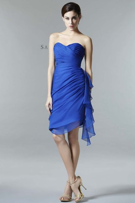 Pencil Short Sleeveless Sweetheart Criss-Cross Chiffon Bridesmaid Dress