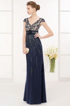 V Neck V Back Cap Sleeve Sheath Tulle Long Prom Dress With Beadings