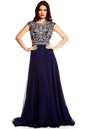 A-Line Cap-Sleeve Long Beaded Scoop-Neck Chiffon Prom Dress