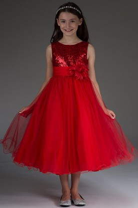 Flower Girl Scoop Neck Tulle Tea Length Dress With Sequined Top And Flower