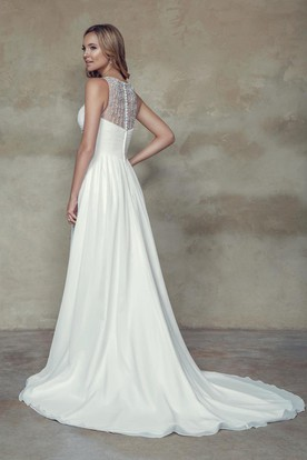 Empire Ruched Sleeveless Scoop Neck Chiffon Wedding Dress