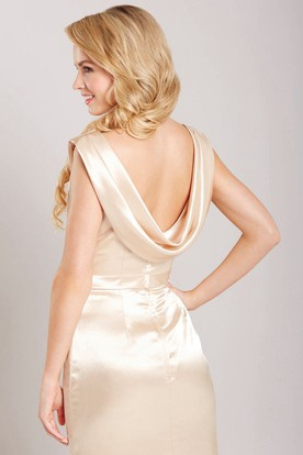 Cap Sleeve Cowl Neck Satin Bridesmaid Dress With Low-V Back