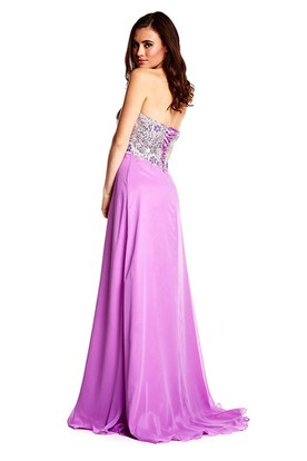 Sweetheart Beaded Sleeveless Jersey Prom Dress With Brush Train