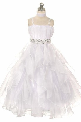 Cape Empire Tiered Pleated Organza Flower Girl Dress With Sash