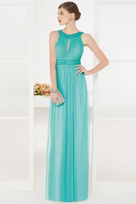 Empire Front Keyhole Tulle Long Prom Dress With Sequined Neck And Waist
