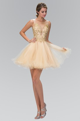 A-Line Short Bateau Sleeveless Tulle Dress With Beading And Ruffles