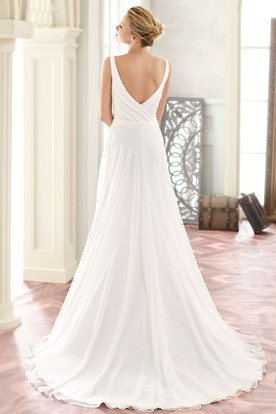 Maxi V-Neck Appliqued Chiffon Wedding Dress With Sweep Train And V Back