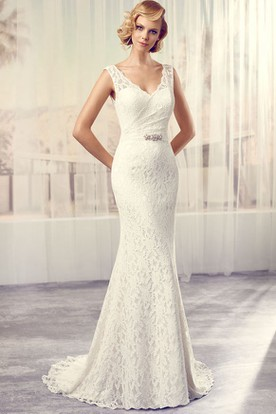 Floor-Length V-Neck Jeweled Lace Wedding Dress With Brush Train And V Back