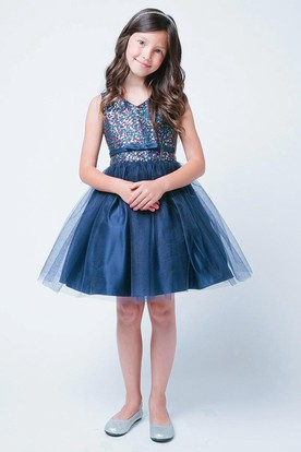 V-Neck Tea-Length Bowed Tiered Tulle&Sequins Flower Girl Dress With Split Front