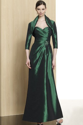 Sheath 3-4-Sleeve Sweetheart Ankle-Length Criss-Cross Satin Formal Dress With Broach And Cape