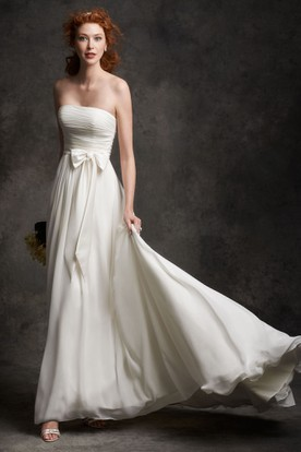 Long Strapless Ruched Chiffon Wedding Dress With Court Train And Corset Back
