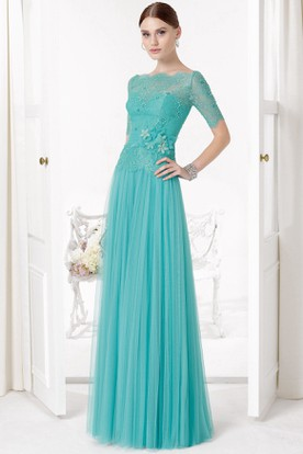 Floral Bateau Neck Illusion Sleeve Tulle Prom Dress