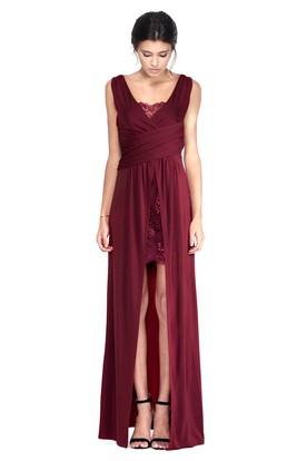 Floor-Length Sleeveless V-Neck Draped Chiffon Bridesmaid Dress